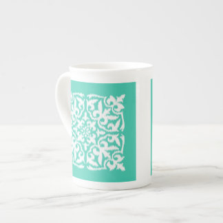 Ikat damask pattern - peacock blue and white tea cup