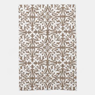 Ikat damask pattern - Taupe Tan and White Tea Towel