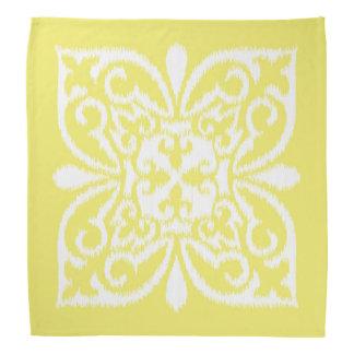 Ikat damask pattern - yellow and white head kerchiefs