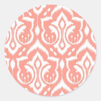 Ikat Damask - Peach Classic Round Sticker