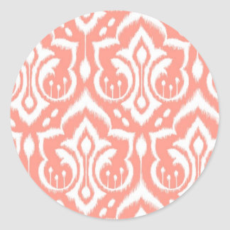 Ikat Damask - Peach Round Sticker