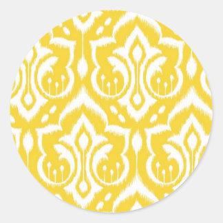 Ikat Damask - Sunshine Yellow Classic Round Sticker