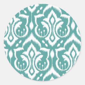 Ikat Damask - Teal Classic Round Sticker