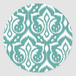 Ikat Damask - Teal Round Sticker