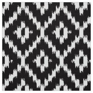 Ikat Diamond Pattern - Black and white Fabric