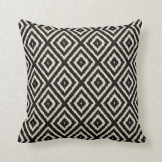 Ikat Diamond Pattern in Black and Cream Cushion