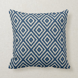 Ikat Diamond Pattern in Light Blue and Cream Cushion