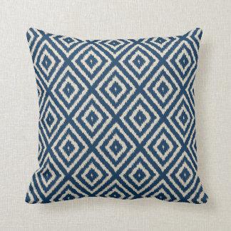 Ikat Diamond Pattern in Light Blue and Cream Throw Pillow