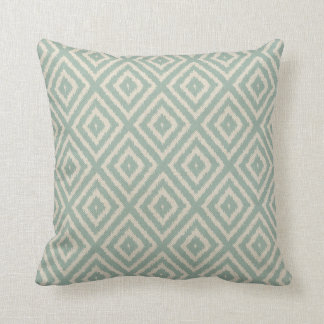 Ikat Diamond Pattern in Seafoam Green Cream Cushion