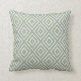 Ikat Diamond Pattern in Seafoam Green Cream Cushion