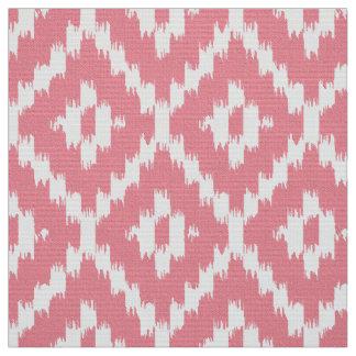 Ikat Diamond Pattern - Shell pink and white Fabric
