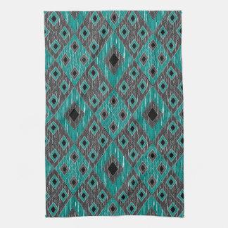 Ikat Diamond Pattern - Teal Black Tea Towel