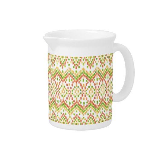 Ikat Ethnic Moorish Pattern on White to Customise Beverage Pitchers