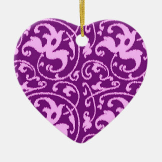 Ikat Floral Damask - Orchid and Purple Ceramic Heart Decoration