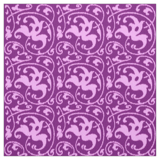Ikat Floral Damask - Orchid and Purple Fabric