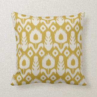Ikat Floral Pattern Mustard Yellow and Natural Cushion