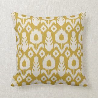 Ikat Floral Pattern Mustard Yellow and Natural Throw Pillow
