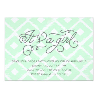 Ikat It's A Girl Baby Shower Invitation in Mint