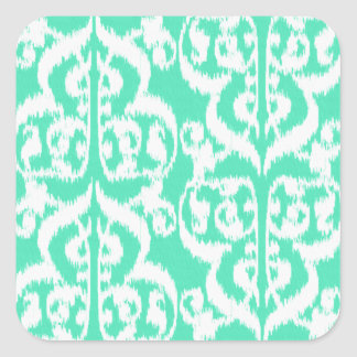 Ikat Moorish Damask - aqua and white Square Sticker