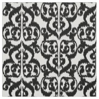 Ikat Moorish Damask - black and white Fabric
