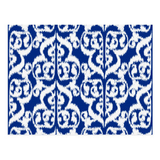 Ikat Moorish Damask - cobalt blue and white Postcard