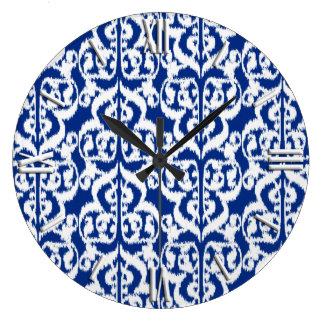 Ikat Moorish Damask - cobalt blue and white Wall Clock