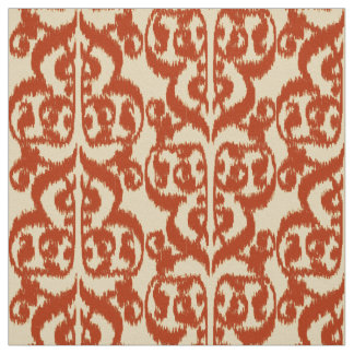 Ikat Moorish Damask - Mandarin orange Fabric