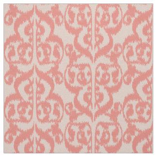 Ikat Moorish Damask - peach and coral pink Fabric