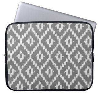 Ikat pattern - Charcoal and silver grey Laptop Computer Sleeves