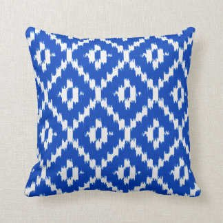 Ikat pattern - Cobalt blue and white Cushions