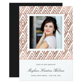 Ikat Pattern Graduation Announcement | Rose Gold