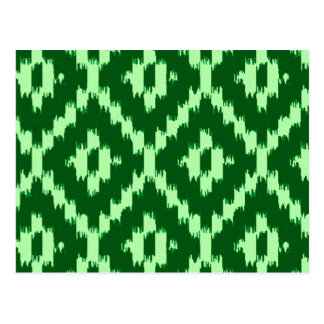 Ikat pattern - Pine green and pale green Post Cards