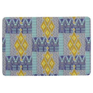 IKAT Patterned Tribal Modern Vintage Navy Grey Art Floor Mat