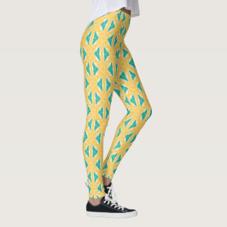 Ikat Print Yellow and Teal Leggings