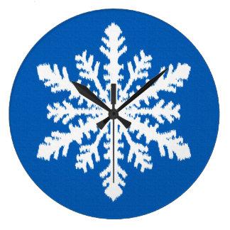 Ikat Snowflake - Cobalt blue and white Clock
