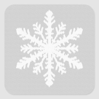 Ikat Snowflake - Silver grey and white Square Sticker