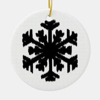 Ikat Snowflake - White and black Ornaments