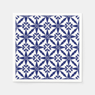 Ikat Star Pattern - Navy Blue and White Paper Napkin