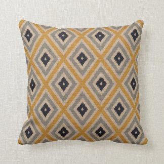 Ikat Tribal Diamond Pattern Yellow Blue Brown Pillow