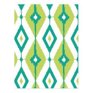 Ikat,tribal,green,teal,white,chevron,zig zag,girly postcard