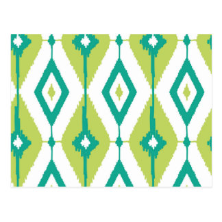 Ikat,tribal,green,teal,white,chevron,zig zag,girly postcard