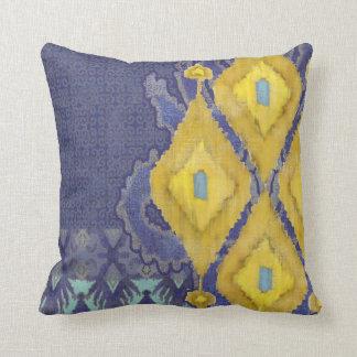 IKAT Uzbekistan Antique Tribal Pattern Navy Yellow Cushion