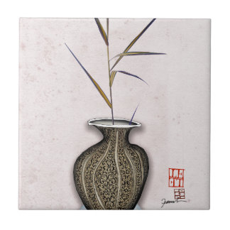Ikebana 3 by tony fernandes ceramic tile