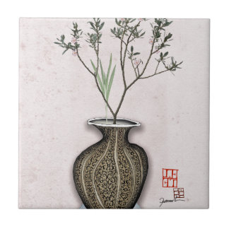 Ikebana 4 by tony fernandes ceramic tile