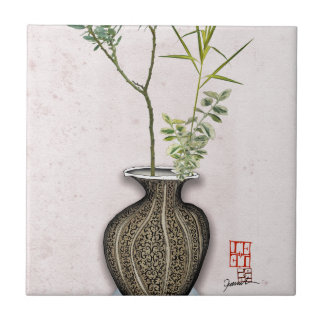 Ikebana 6 by tony fernandes ceramic tile