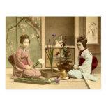 Ikebana - Beautiful Kimono Girls Arranging Flowers Post Card