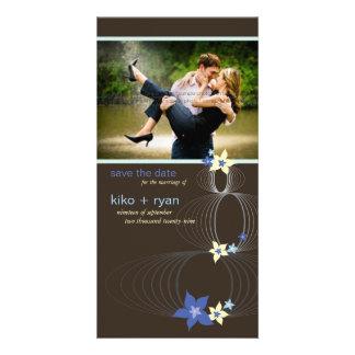Ikebana Frangipani Blue Tropical Flower Wedding Card