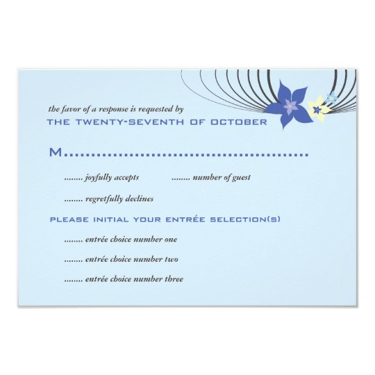 Ikebana Frangipani Blue Tropical Flower Wedding Card