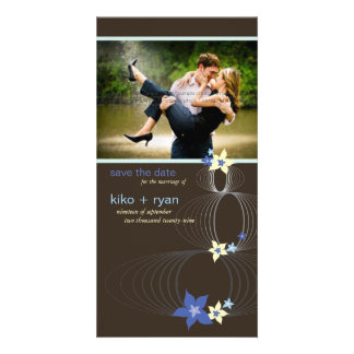 Ikebana Frangipani Blue Tropical Flower Wedding Photo Greeting Card