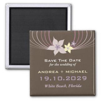 Ikebana Frangipani Purple Tropical Flowers Wedding Square Magnet